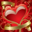 Red heart with gold banners — Stockvectorbeeld