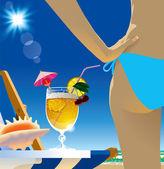 Beach cocktail — Stock Vector