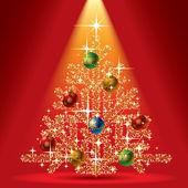Gold weihnachtsbaum — Stockvektor