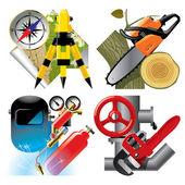 Iconos de ocupación trabajo — Vector de stock