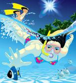 Diving girl — Stock Vector