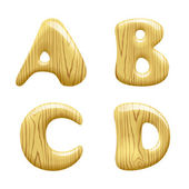 Wood Alphabet Letters — Stock Vector