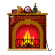 Christmas fireplace — Stock Vector