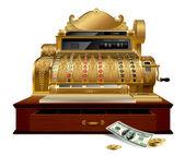 Vintage cash register — Stock Vector