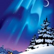 Winter landscape with the northern lights — Stock Vector #17498591