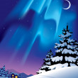 Winter landscape with the northern lights — Stock Vector
