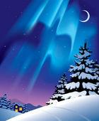 зимний пейзаж с северное сияние — Cтоковый вектор