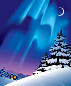 Winter landscape with the northern lights — Vector de stock