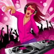 Beautiful DJ girl - Vektorgrafik