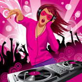Beautiful DJ girl — Stock Vector