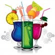 Group of cocktails — Stock Vector