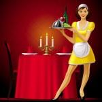 Waitress in restaurant — Stock Vector #17657971