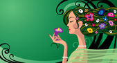 Girl in green — Stock Vector