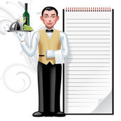 Young waiter — Stock Vector