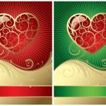 2 つのバレンタイン カード — ストックベクタ