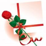 Валентина карты с розой — Cтоковый вектор