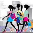 Shopping girls — Stock Vector #18890015