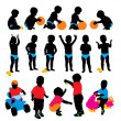 Child's silhouettes - Stock Vector