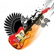 Stock Vector: Red bass guitar in flame