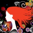 Girl with red hair — Stock Vector