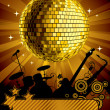 Gold disco ball - Stock Vector