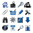 Blue website and internet icons 2 — Stock Vector