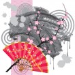 Japan fan with a blot — Stock Vector