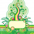 Green tree and a grassed banner - Stock Vector