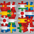 Royalty-Free Stock Vector Image: Puzzle flag icons 2