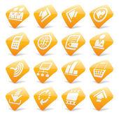 Orange website and internet icons 2 — Stock Vector