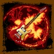 Stock Vector: Fire electric guitar
