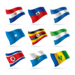 Stok Vektör: Set of world flags 10