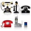 Telephone sets of different epoch - Stock Vector