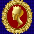 Gold profile of queen - 图库矢量图片
