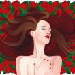 Woman on a background of red roses — Stock Vector #24742527