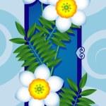 白い花とカード — ストックベクタ