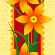 Card with orange flowers — Stockvektor