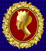 Gold profile of queen — Stock Vector