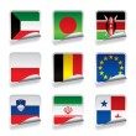 Sticker flags — Stock Vector
