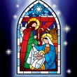 Christmas stained glass window — Stockvektor