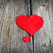Valentina red heart on a wooden background — Stock Photo