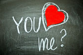 Happy valentines day, inscription by hand YOU love ME? — Stock Photo