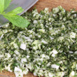 Chopped herbs and mezzaluna — Foto de Stock