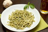Trofie with pesto sauce — Stock Photo