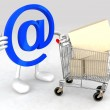 Royalty-Free Stock Photo: Email symbol with a shopping cart