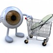 Eye with arms and legs and shopping cart with eyeglasses — Stock Photo