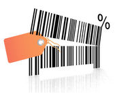Bar code as an open mouth with teeth — Stock Photo