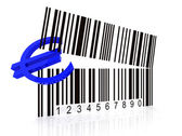 Bar code as an open mouth with Euro — Stock Photo