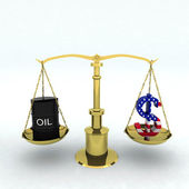 Bin oil and dollar — Stock Photo
