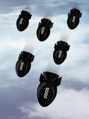"Bombs falling from the sky with written ""ddos"" — Stockfoto"